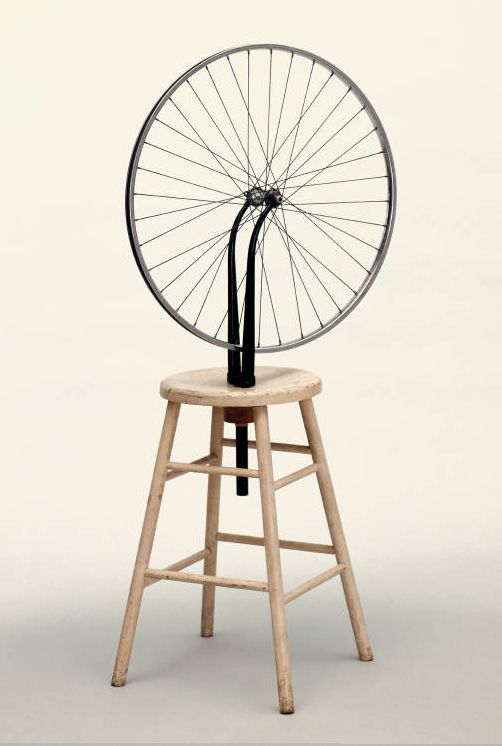 Bicycle Wheel: 1913. Original lost or destroyed. Experiment in Duchamp's studio? 1st of series of ready mades. Questions very essence of art.