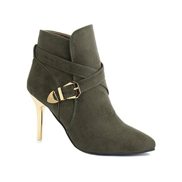 Stiletto Heel Point Toe Buckle Cross Strap Suede Ankle Boots ❤ liked on Polyvore featuring shoes