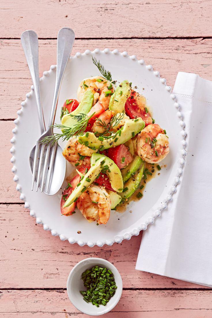 Tomaten-Avocado-Salat mit gebratenen Garnelen (Paleo Recipes Meal Prep)