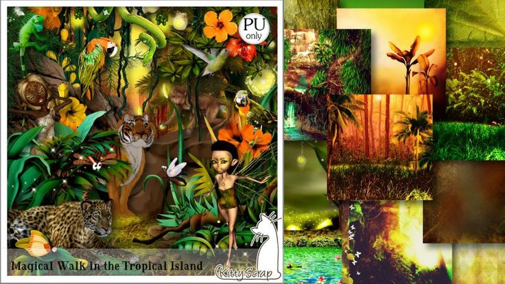 kit magical walk in the tropical island by Kittyscrap