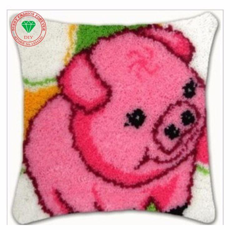 Latch hook rug kit Diy Pillowcase Cross-stitch carpet cushion Patchwork diy embroidery pillowcase thread Craft Home Decor Pig //Price: $24.95 & FREE Shipping //     #hashtag3