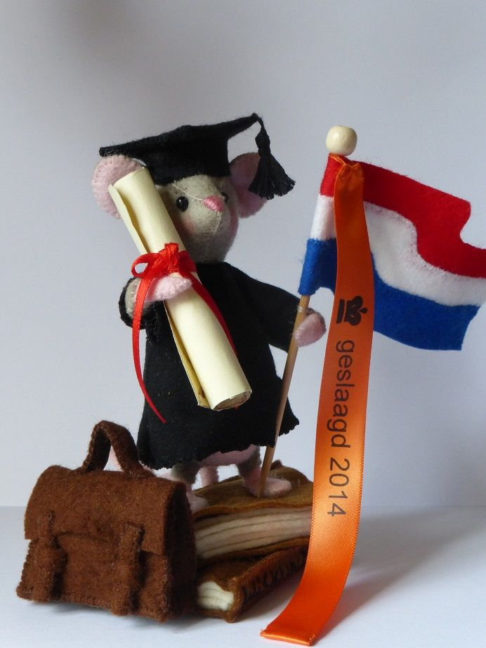 Hoera ik ben geslaagd Leuk om te maken voor iemand die geslaagd is, In zijn hand heeft dit muisje een diploma, hier kan je de naam opschrijven van diegene en waarvoor en wanneer deze is geslaagd zodat het een leuk aandenken is. Het muisje staat op een paar boeken, schooltas ligt ernaast en de Nederlandse vlag heeft hij in zijn pootje