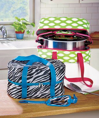 A Slow Cooker Carrier is the easy way to take your food contribution to a family gathering, neighborhood potluck or other social event. This insulated carrier allows you to easily transport your slow cooker while keeping the contents warm. A strap on