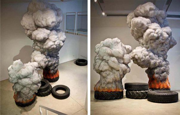 Gal Weinstein, Fire Tire, instalation, Wax, wool, polyester wool, styrofoam, graphite.