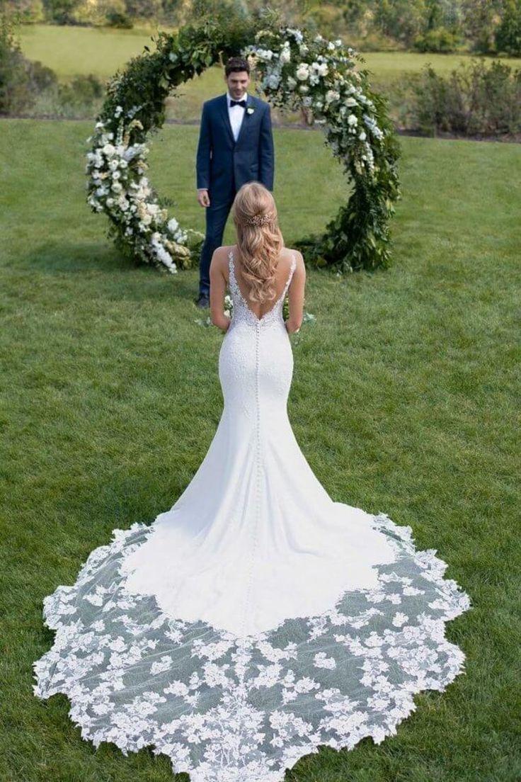 Prom Dress Boho, 2019 Mermaid Wedding Dresses V Neck With Applique And Beads Court Train