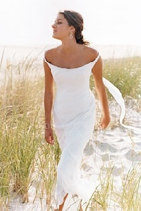casual beach wedding dress, I think this is appropriate, seen too many brides at a beach wedding totally over the top.