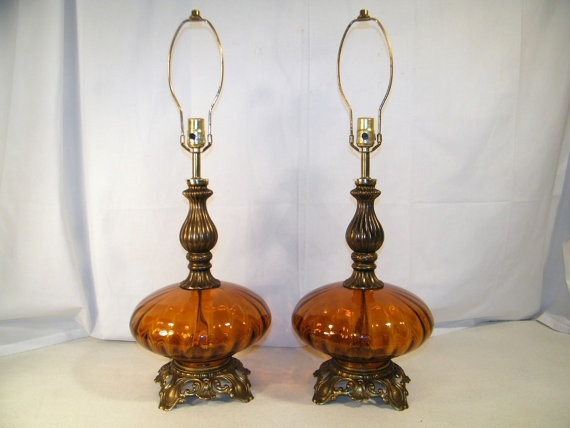 PAIR 2 Vintage Mid Century AMBER Table LAMPS By SMILEatTheDEALS, $150.00