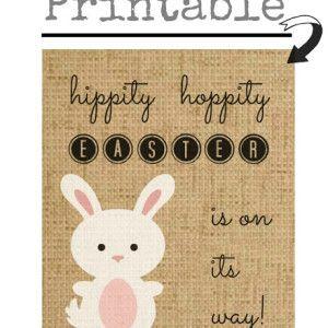 Free Hippity Hoppity Easter Bunny Printable Art