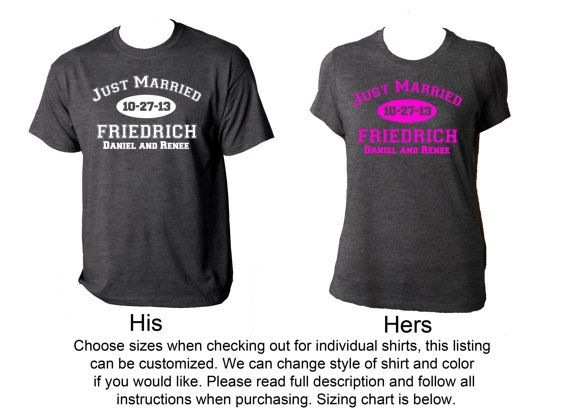 Pair of personalized just married shirts very cute w last for Custom shirts fast delivery
