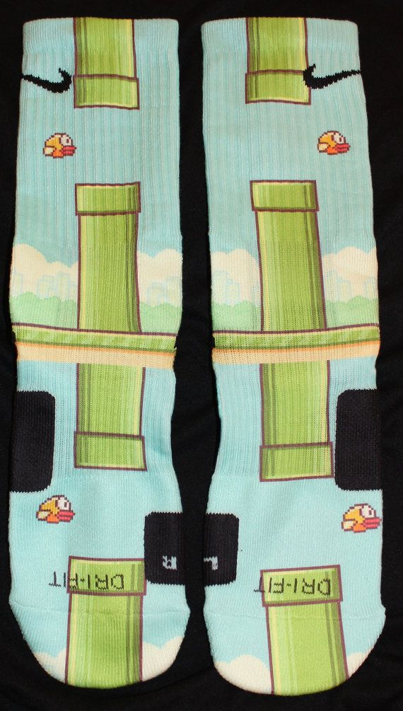 FlappyBird Custom Nike Elite Socks Parody by LuxuryElites on Etsy, $29.99