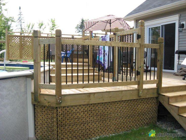 Construire patio piscine hors terre recherche google for Deck piscine bois