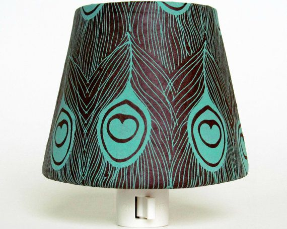 Turquoise and Brown Night Light Shade with Peacock Feather Pattern - Brown Nursery Decor - Master Bedroom Decor - Decorative Night Lights
