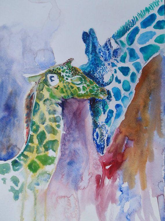 Mummy & Baby Giraffe Watercolor Painting Print Giraffe