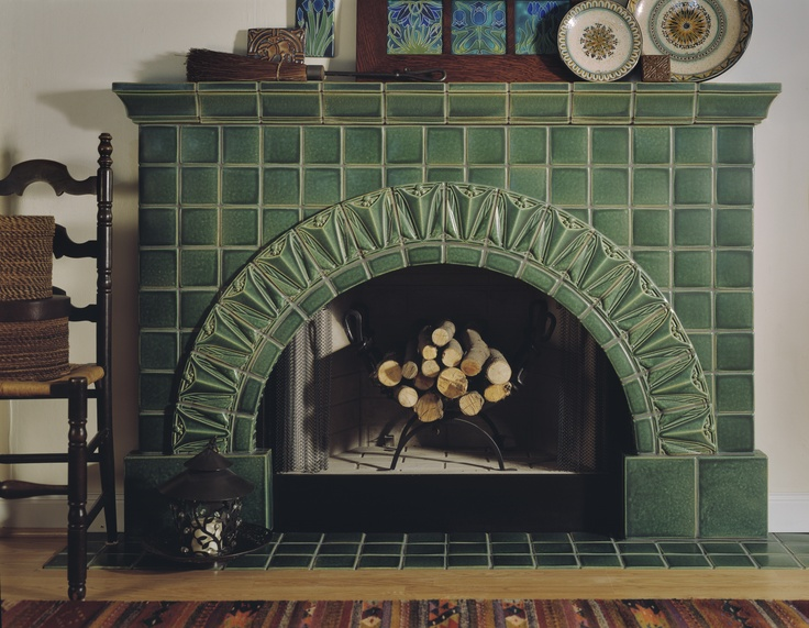 101 best images about fireplaces by motawi on pinterest for Arts and crafts tile fireplace