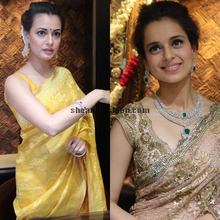 Kangana Raunaut and Dia Mirza in saree for a jewellery launch