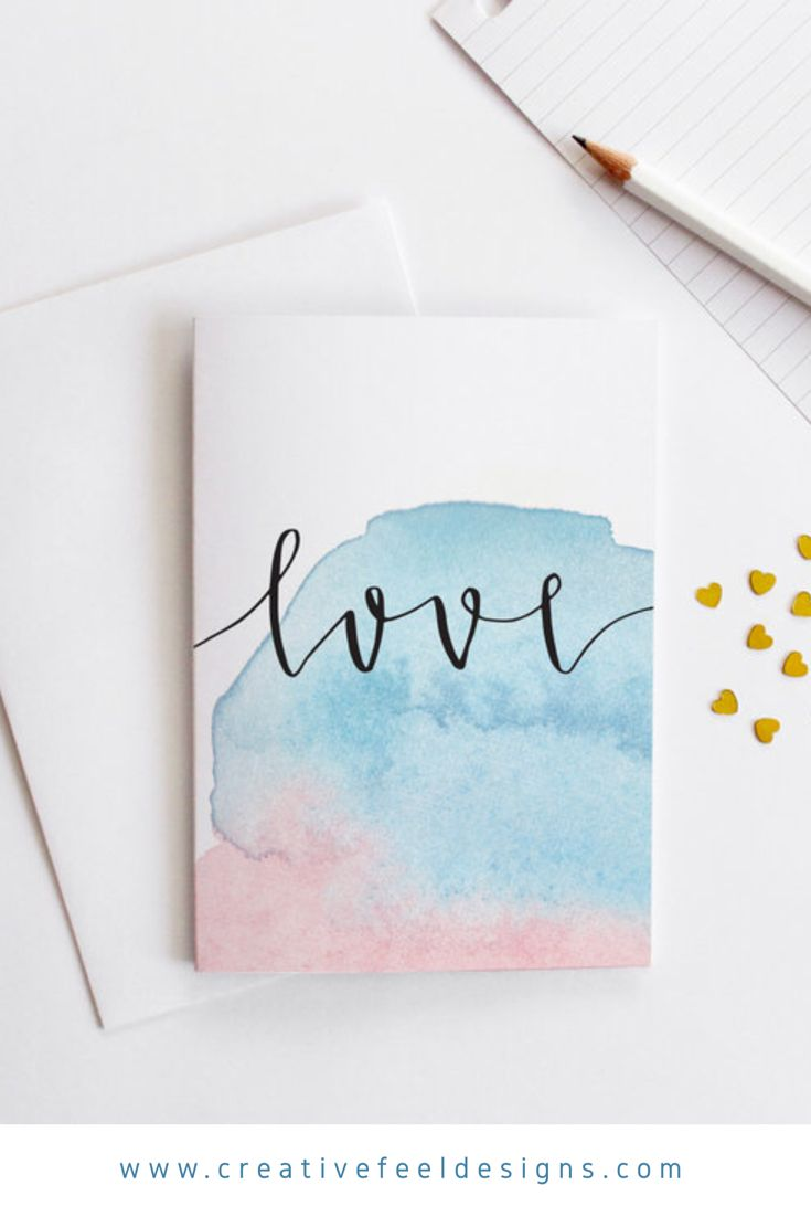 Watercolour Love Card Calligraphy Cards Watercolor Birthday