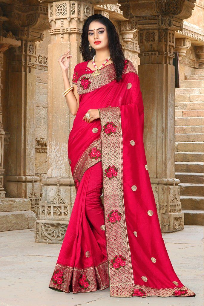39094312bdca15 Pink Zari Embroidered Art Silk Saree   Unstitched Blouse in 2019 ...
