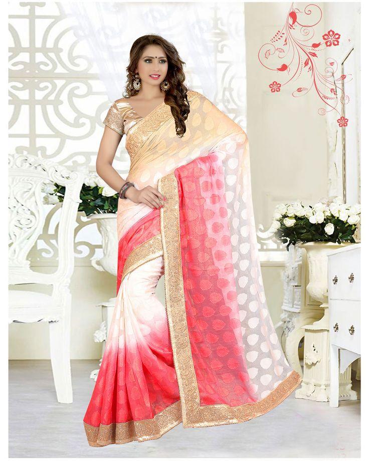 Beige Georgette Jacquard Wedding Saree 63537  #WeddingSarees #OnlineShopping