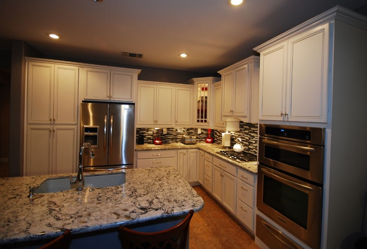 Cardell white with silver glaze cabinets and cambria praa for Cambrian kitchen cabinets