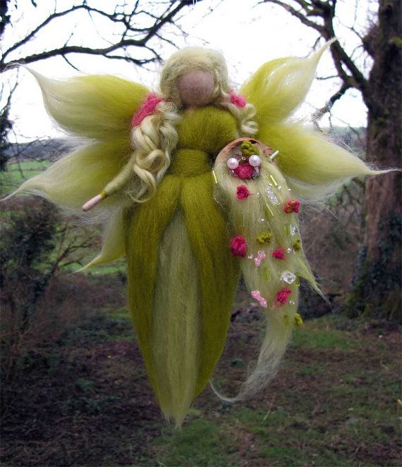 February Needle Felted Wool fairy Nature fairy by LivelySheep, €16.00