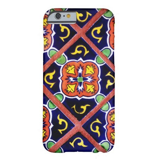 Southwestern Tile Design Cool iPhone 6 Case.  Bold and Colorful with cobalt blue and terra-cotta orange.  Customize it with your own name, monogram, or initials for free.