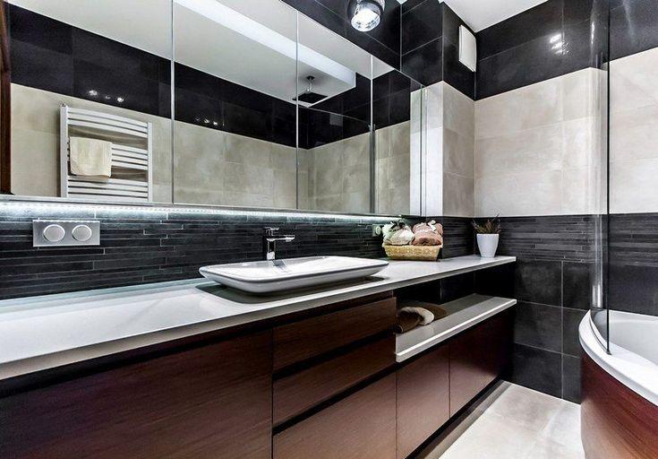 salle-bain-noir-blanc-armoire-rangement-bois-marron-foncé