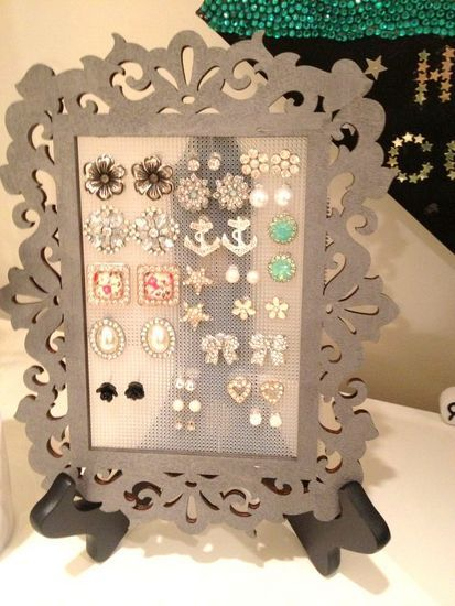 DIY Earring Holder - A frame with plastic needlepoint canvas attached to the back.