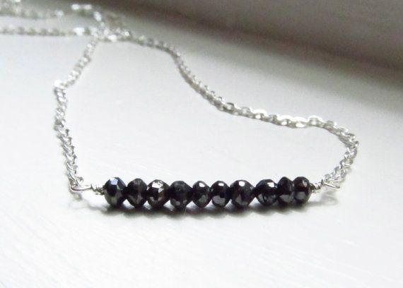 Black diamond necklace silver chain raw polished 16 by WynnDesign, $110.00