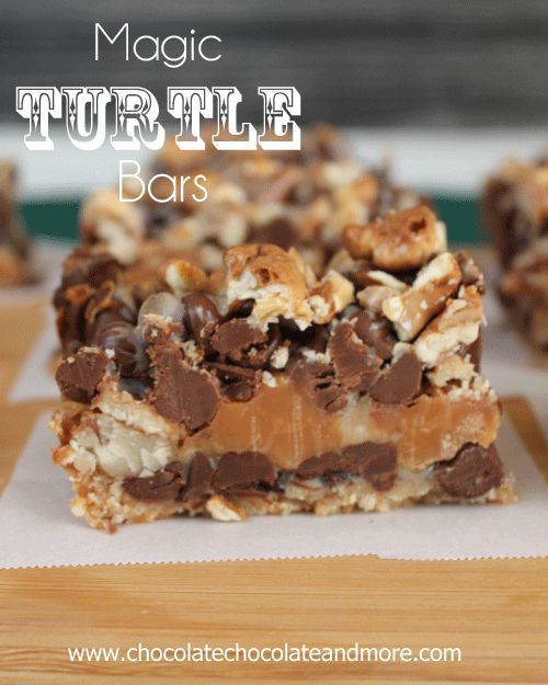 Magic Turtle Bars from Chocolate Chocolate and More!   I love baking these kinds of bars. They're so simple and can be fine-tuned to your tastes.