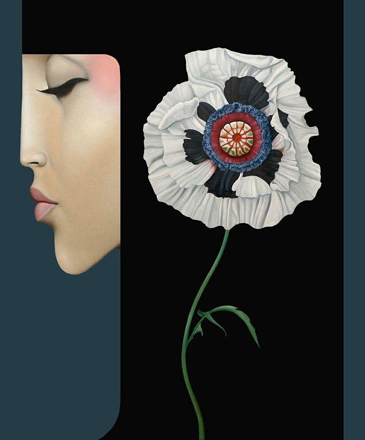 Slava Fokk ''White Poppy'' oil on canvas 50x40cm 2013