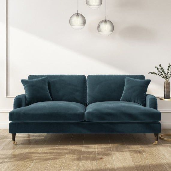Stunning Plush Petrol Blue Victorian Style Velvet Fabric 3 Seater Sofa Large Sofa Velvet Sofa Living Room Blue Velvet Sofa Living Room Living Room Sofa Design
