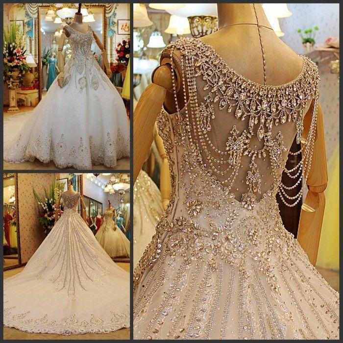 Véritable 2013 mode robe de bal royal v courroies de cou en dentelle de cristal perles paillettes glands strass. chapelle train robe de mariée robes