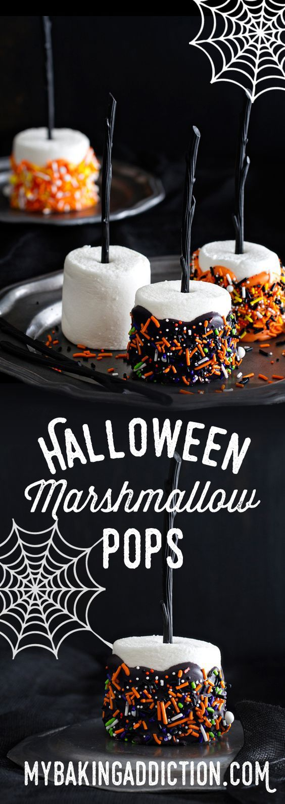Halloween Party Treats Appetizers and Desserts Recipes - Halloween Marshmallow Pops Handheld Treats Recipe via My Baking Addiction