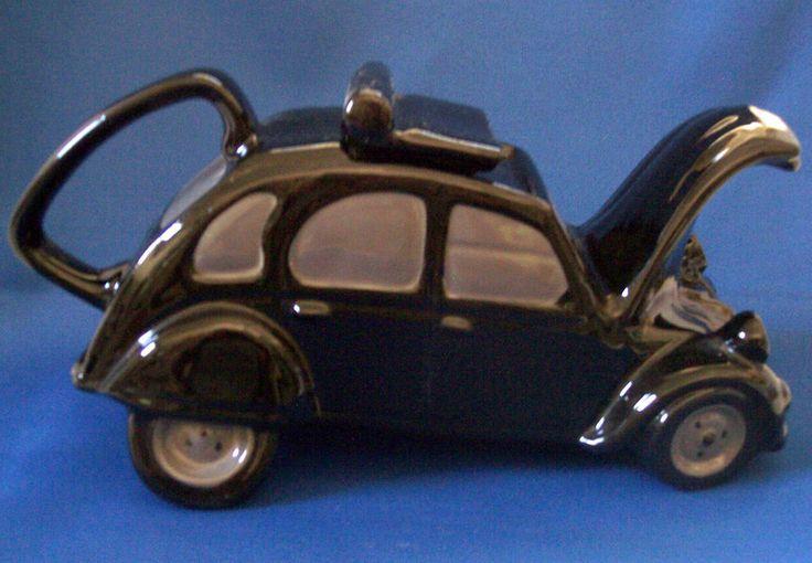 COOPERCRAFT Tea Pot, Large Black Citroen 2CV car, Made in England