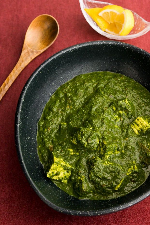 Palak Paneer is an Indian spinach and cheese curry. For my version, I marinate tofu to make a vegan paneer before adding it to the rich spinach curry.