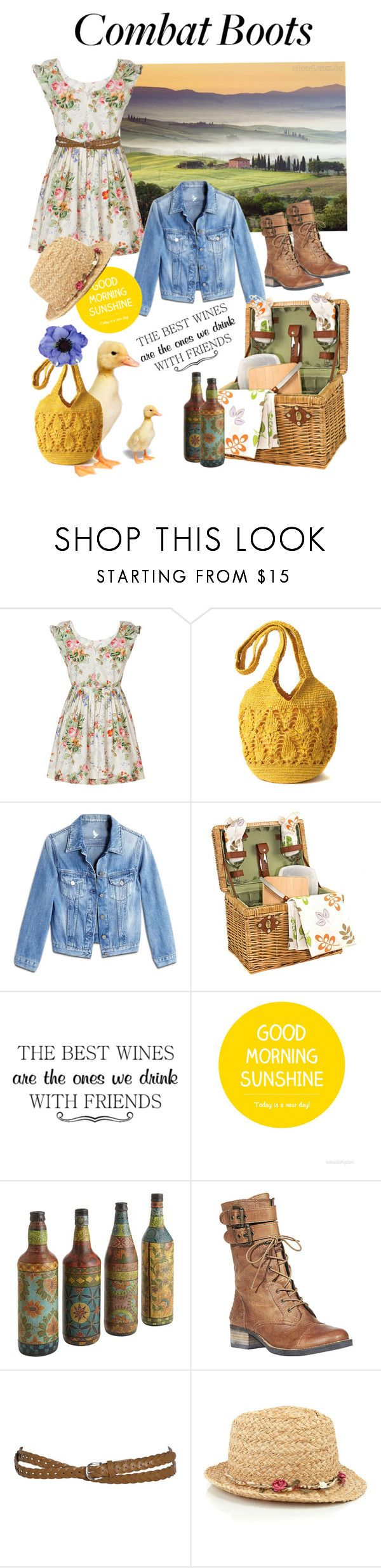 """""""Combat boots"""" by inestylebeyourself ❤ liked on Polyvore featuring Anna Sui, Mar y Sol, M.i.h Jeans, WALL, Pier 1 Imports, Steve Madden, Accessorize and Clips"""
