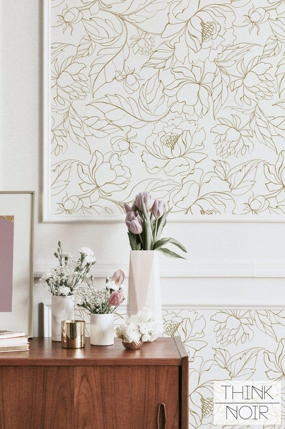 Faux Gold Peony Self Adhesive Wallpaper Floral Removable Regular Wallpaper Flower Wall Mural Floral Wallpaper In 2020 Floral Wallpaper Self Adhesive Wallpaper Wallpaper
