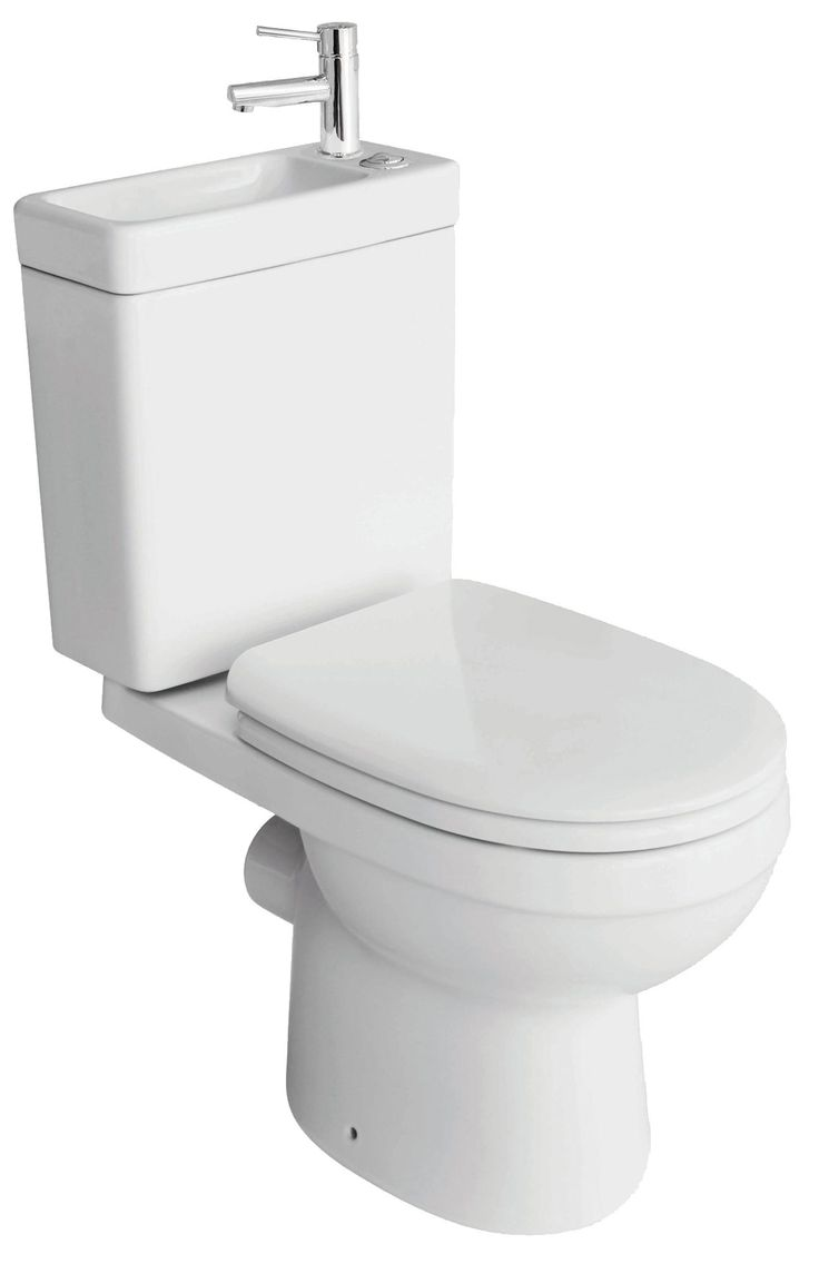 Cooke & Lewis Duetto Close-Coupled Toilet with Integrated Basin with Soft Close Seat | Rooms | DIY at B&Q