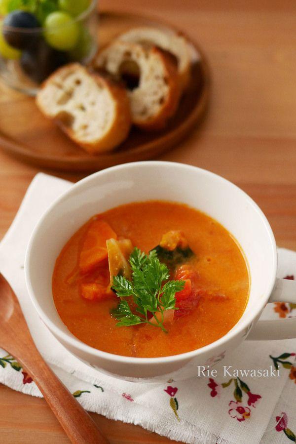 野菜たっぷり!レンジで作るトマトクリームスープ by 川崎利栄 ...