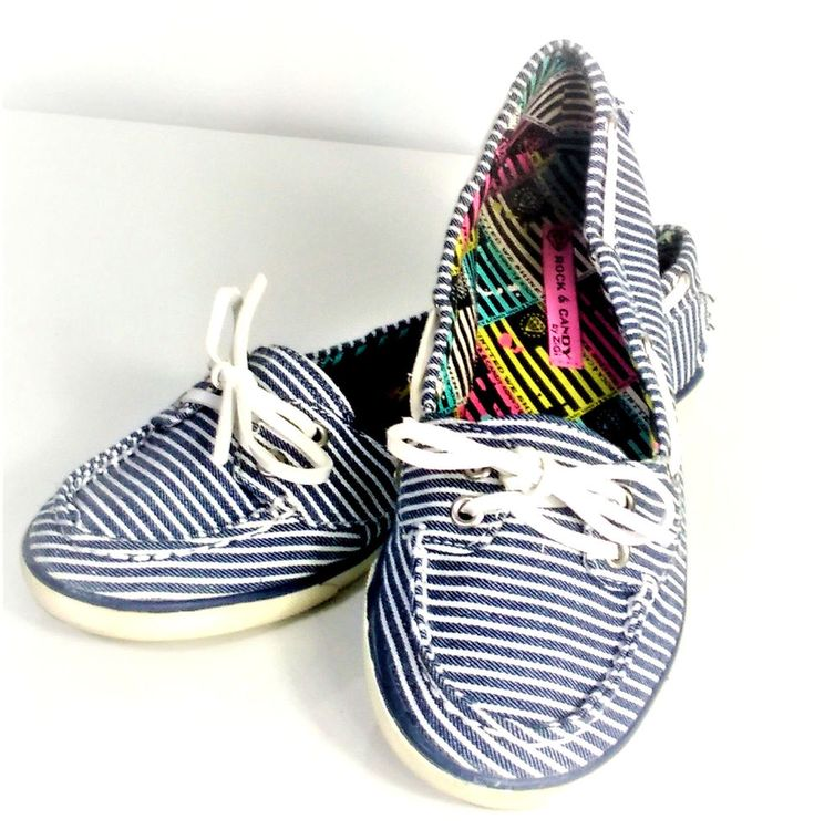 Rock And Candy Women's Boat Shoes Size 9 By Zigi Huntington Blue White Stripes #RockandCandy #BoatShoes #Casual