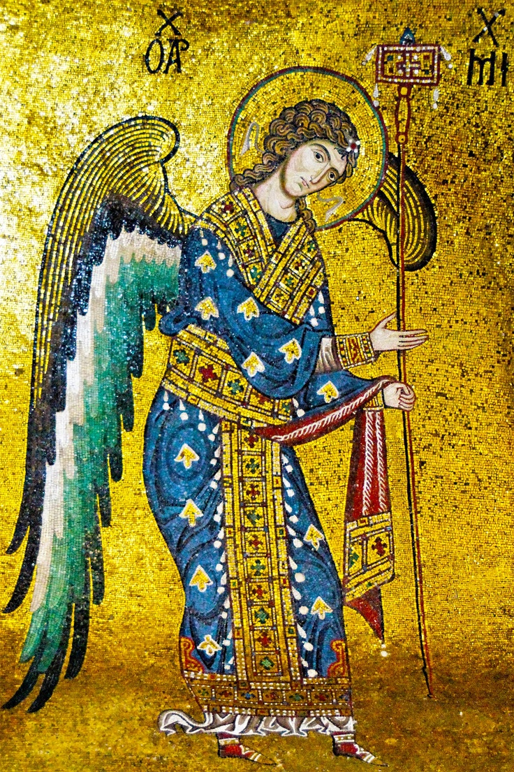 12th-century mosaic of the Archangel Michael from the Byzantine part of La Martorana, also known as Santa Maria dell'Ammiraglio in Palermo, Sicily.