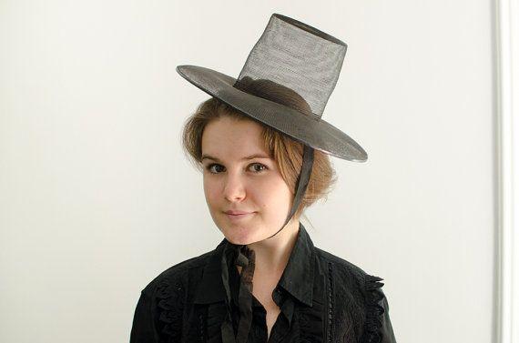 Chapeau de pèlerin maille noir antique w / maille par HouseofSeance