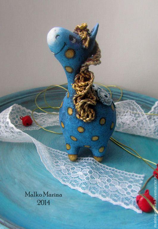 Купить Ёлочная игрушка.Любопытная лошадка. - голубой, лошадка, Папье-маше, золотой цвет