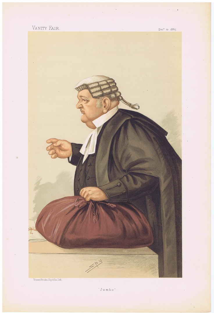 Date: 12-Dec-1885 The Vanity Fair Caricature of Mr. Samuel Q.C. Pope With the caption of : Jumbo By the artist: SPY Visit www.theakston-thomas.co.uk for many more Vanity Fair Prints, we have one of the largest collections in the world.