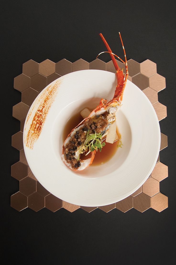 How about a Steamed lobster with winter melon and black garlic in light soy sauce for lunch or dinner?