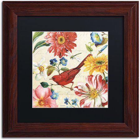 Trademark Fine Art Rainbow Garden III Cream Canvas Art by Lisa Audit, Black Matte, Wood Frame, Size: 11 x 11, Multicolor