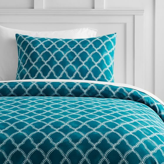 Gemstone Trellis Flannel Duvet Cover, Twin, Peacock