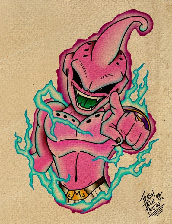 Kid Buu Drawing : drawing, Traditional, Tattoo, Style, Print., Drawings,, Tattoo,, Dragon, Artwork