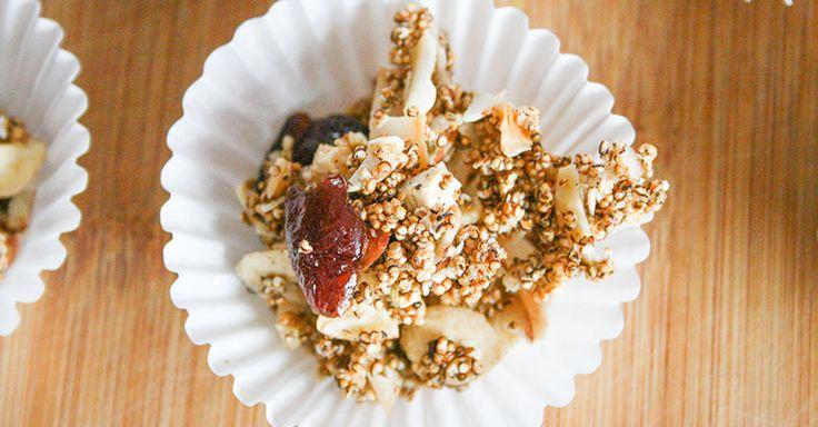 Bouchées craquantes d'amarante soufflée au caramel et aux noix