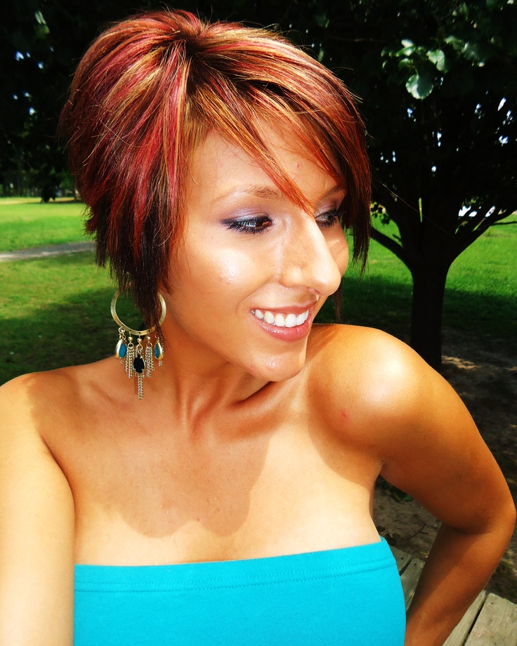 Red Highlights Long Pixie Short Inverted Bob Hairstyles